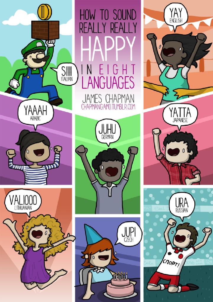 Heureux en plusieurs langues